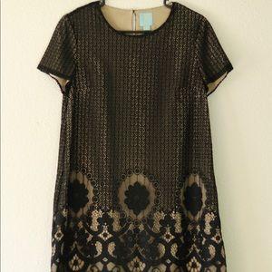 CeCe Dresses - CeCe Black Lace Nude Dress Size 6